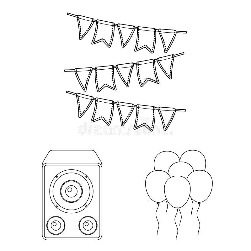 Κόμμα, εικονίδια περιλήψεων ψυχαγωγίας στην καθορισμένη συλλογή για το σχέδιο Ο εορτασμός και μεταχειρίζεται το διανυσματικό Ιστό ελεύθερη απεικόνιση δικαιώματος
