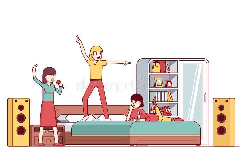 Κόμμα κρεβατοκάμαρων bachelorette γυναικών sleepover ελεύθερη απεικόνιση δικαιώματος