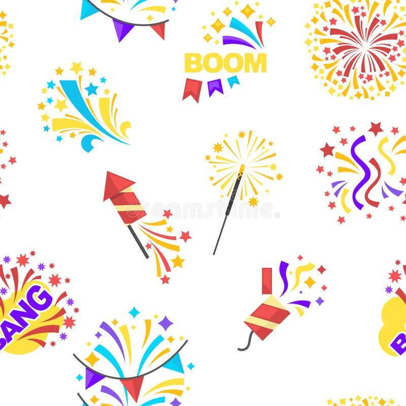 Κόμμα κτυπήματος και εορτασμός του άνευ ραφής σχεδίου διακοπών που απομονώνεται στο άσπρο διάνυσμα απεικόνιση αποθεμάτων