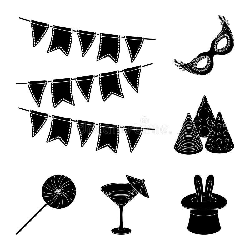 Κόμμα, μαύρα εικονίδια ψυχαγωγίας στην καθορισμένη συλλογή για το σχέδιο Ο εορτασμός και μεταχειρίζεται το διανυσματικό Ιστό αποθ απεικόνιση αποθεμάτων