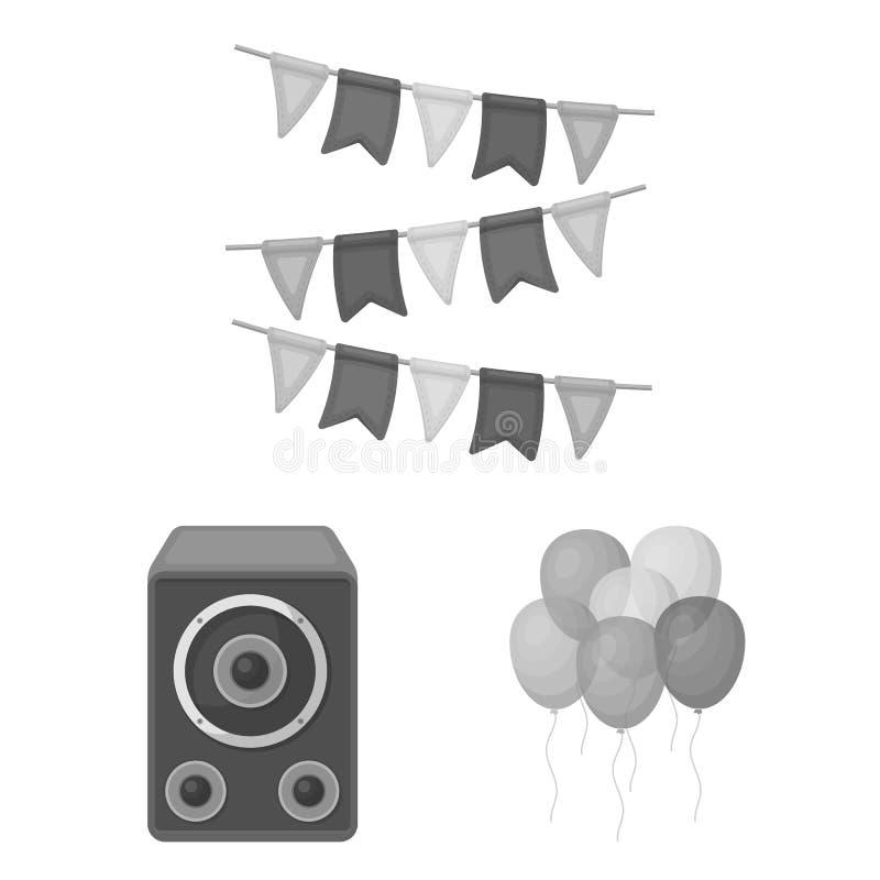 Κόμμα, μονοχρωματικά εικονίδια ψυχαγωγίας στην καθορισμένη συλλογή για το σχέδιο Ο εορτασμός και μεταχειρίζεται το διανυσματικό Ι ελεύθερη απεικόνιση δικαιώματος