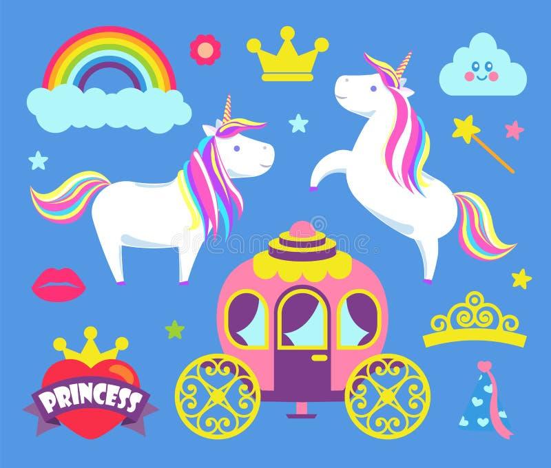 Κόμμα πριγκηπισσών για τα στοιχεία κοριτσιών παιδιών καθορισμένα διανυσματικά διανυσματική απεικόνιση