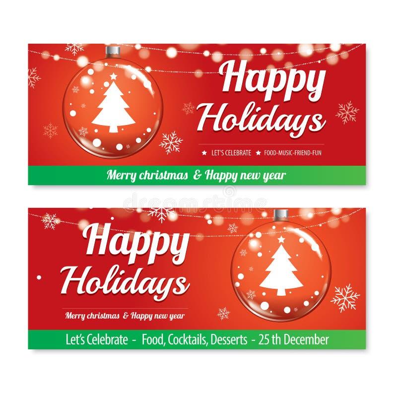 Κόμμα Χαρούμενα Χριστούγεννας και σφαίρα γυαλιού για το σχέδιο ο φυλλάδιων ιπτάμενων διανυσματική απεικόνιση