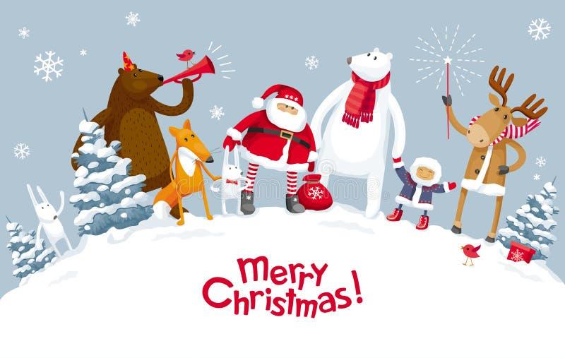 Κόμμα Χαρούμενα Χριστούγεννας στο δάσος διανυσματική απεικόνιση