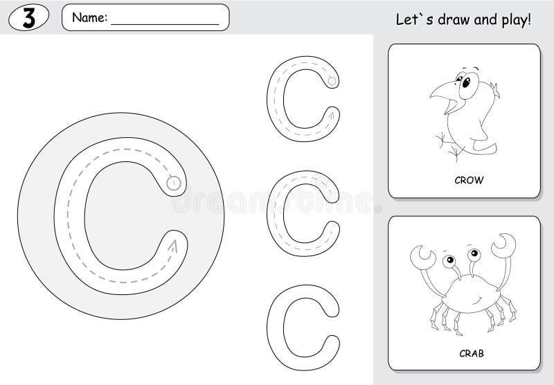 Κόρακας και καβούρι κινούμενων σχεδίων Επισημαίνοντας φύλλο εργασίας αλφάβητου: γράψιμο AZ α ελεύθερη απεικόνιση δικαιώματος