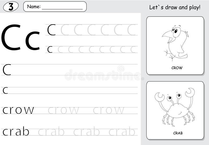 Κόρακας και καβούρι κινούμενων σχεδίων Επισημαίνοντας φύλλο εργασίας αλφάβητου: γράψιμο AZ α απεικόνιση αποθεμάτων