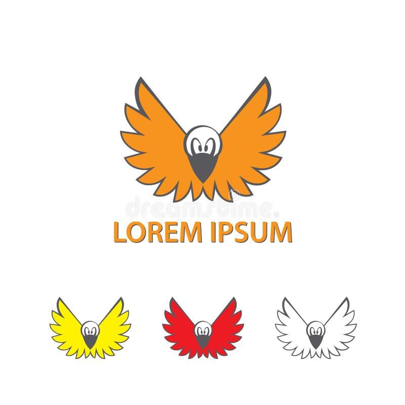 Κόρακας κινούμενων σχεδίων με τα ανοικτά φτερά Ένα πετώντας λογότυπο πουλιών διανυσματική απεικόνιση