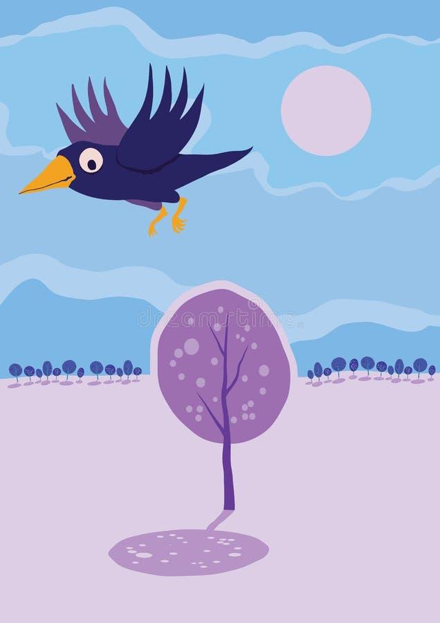 Κόρακας που πετά πέρα από το δέντρο. Διανυσματικό τοπίο κινούμενων σχεδίων. ελεύθερη απεικόνιση δικαιώματος