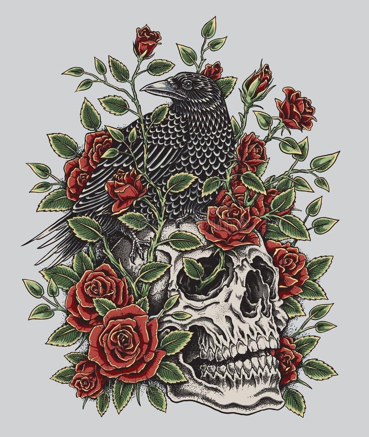 Κόρακας, τριαντάφυλλα και σχέδιο δερματοστιξιών κρανίων απεικόνιση αποθεμάτων