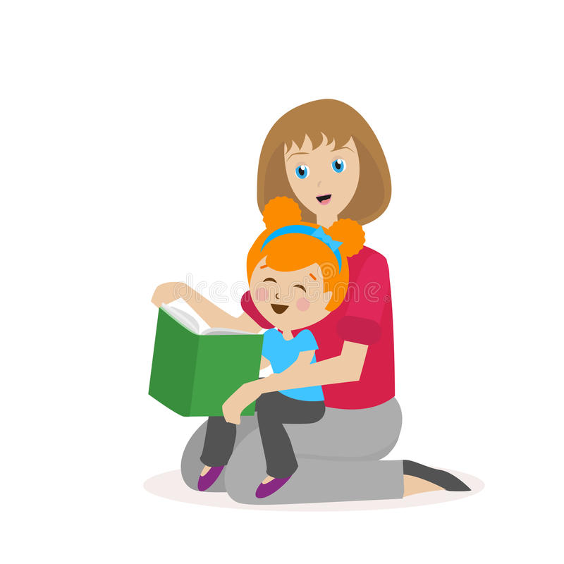 Κόρη μητέρων που διαβάζει ένα βιβλίο Η διαδικασία να διαβάζει Ιστορία ώρας για ύπνο Χαρακτήρας που απομονώνεται επίπεδος στο λευκ απεικόνιση αποθεμάτων