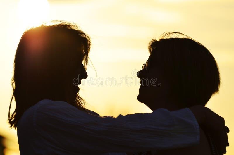 Κόρη μητέρων σκιαγραφιών που αγκαλιάζει, γέλιο, που αγαπά από κοινού στοκ εικόνες με δικαίωμα ελεύθερης χρήσης