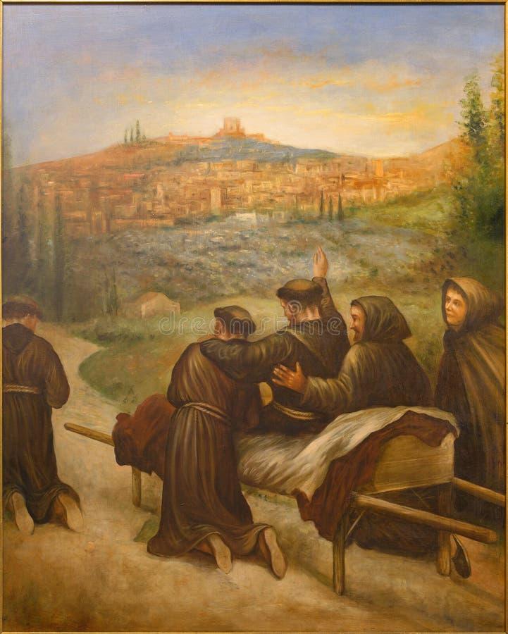 Κόρδοβα - η σκηνή ST Francis Assisi benedicite πριν από το θάνατο η πόλη Assisi στην εκκλησία Convento de Capuchinos στοκ φωτογραφία με δικαίωμα ελεύθερης χρήσης