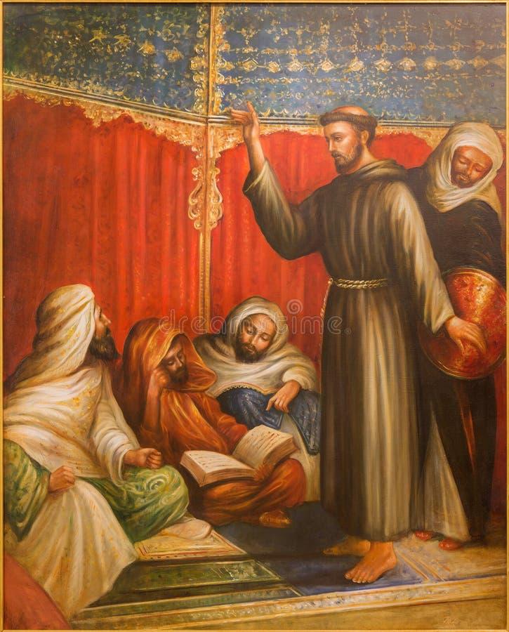Κόρδοβα - ST Francis Assisi ενώπιον του σουλτάνου Melek EL Kamel κατά τη διάρκεια μιας από τη σταυροφορία στην εκκλησία Convento  στοκ εικόνες με δικαίωμα ελεύθερης χρήσης