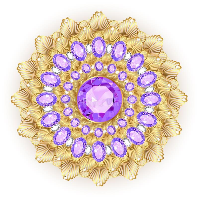 Κόσμημα πορπών, στοιχείο σχεδίου Φυλετικό εθνικό floral ελαφρύ κτύπημα διανυσματική απεικόνιση