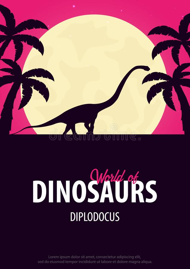 Κόσμος αφισών των δεινοσαύρων προϊστορικός κόσμος Diplodocus Jurassic περίοδος διανυσματική απεικόνιση