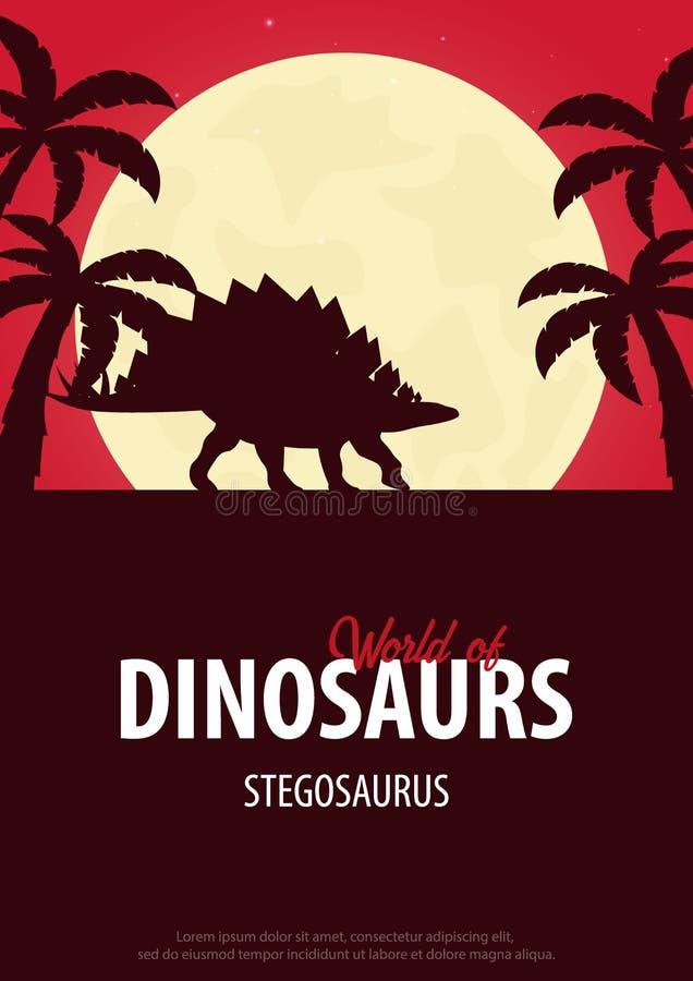Κόσμος αφισών των δεινοσαύρων προϊστορικός κόσμος stegosaurus Jurassic περίοδος διανυσματική απεικόνιση