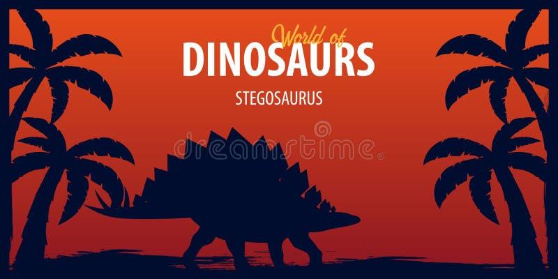 Κόσμος αφισών των δεινοσαύρων προϊστορικός κόσμος stegosaurus Jurassic περίοδος απεικόνιση αποθεμάτων