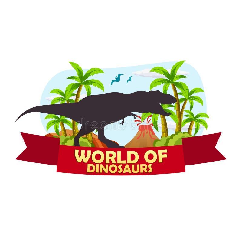 Κόσμος αφισών των δεινοσαύρων προϊστορικός κόσμος Τ -τ-rex Jurassic περίοδος διανυσματική απεικόνιση