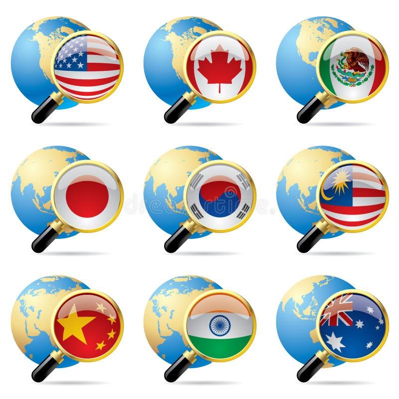 κόσμος εικονιδίων σημαιών απεικόνιση αποθεμάτων