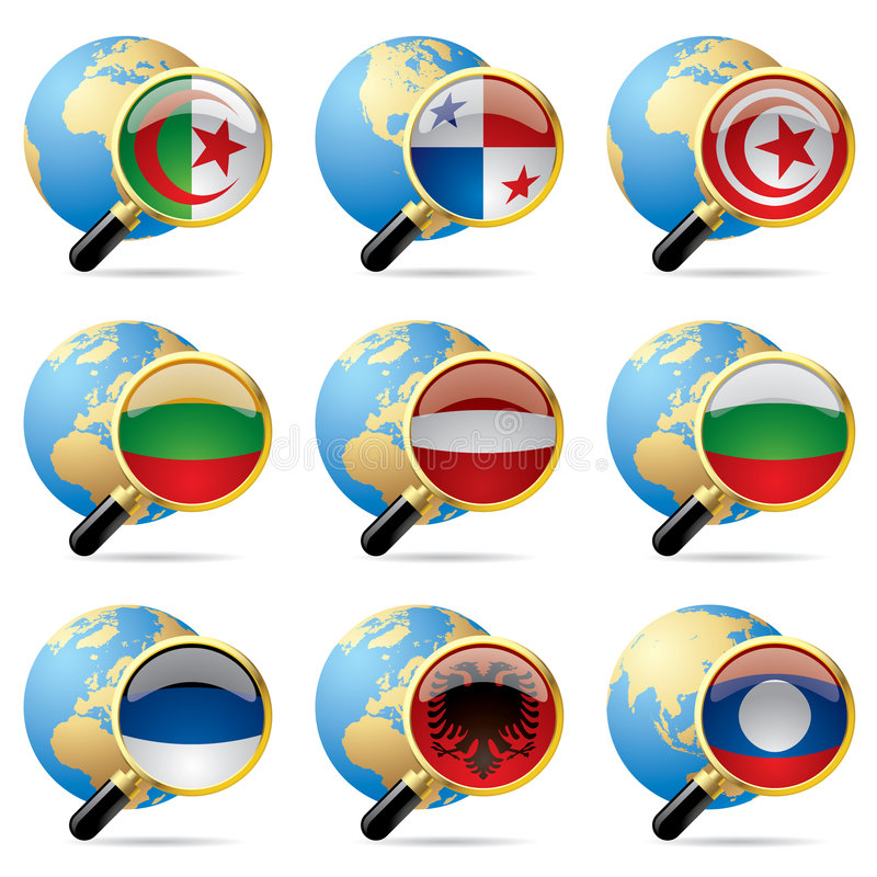 κόσμος εικονιδίων σημαιών ελεύθερη απεικόνιση δικαιώματος