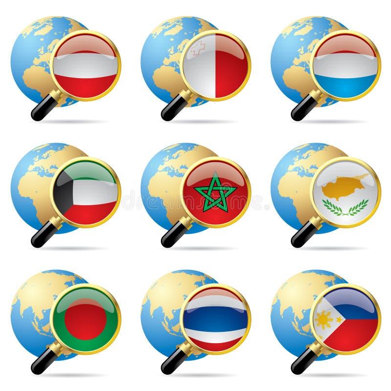 κόσμος εικονιδίων σημαιώ&n απεικόνιση αποθεμάτων