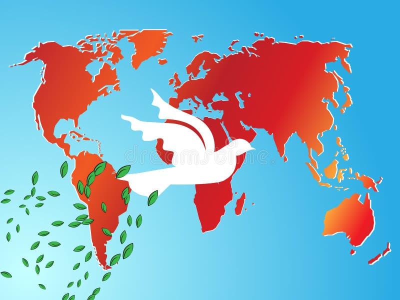 κόσμος ειρήνης περιστερ&iot διανυσματική απεικόνιση