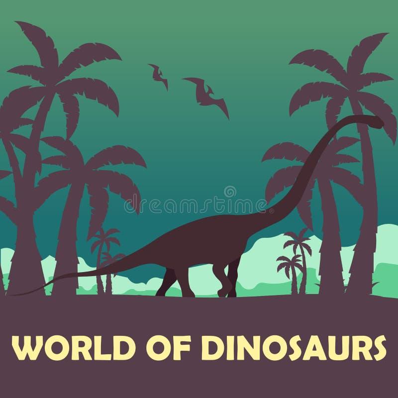 Κόσμος εμβλημάτων των δεινοσαύρων προϊστορικός κόσμος Diplodocus Jurassic περίοδος απεικόνιση αποθεμάτων