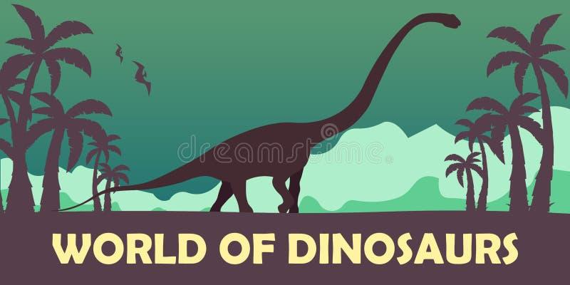 Κόσμος εμβλημάτων των δεινοσαύρων προϊστορικός κόσμος Diplodocus Jurassic περίοδος διανυσματική απεικόνιση