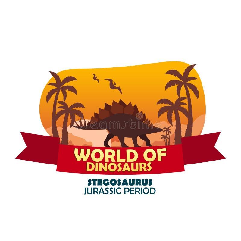 Κόσμος εμβλημάτων των δεινοσαύρων προϊστορικός κόσμος stegosaurus Jurassic περίοδος διανυσματική απεικόνιση