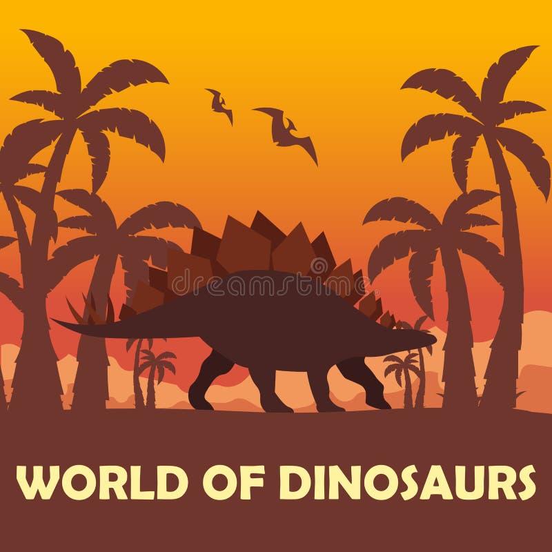 Κόσμος εμβλημάτων των δεινοσαύρων προϊστορικός κόσμος stegosaurus Jurassic περίοδος απεικόνιση αποθεμάτων