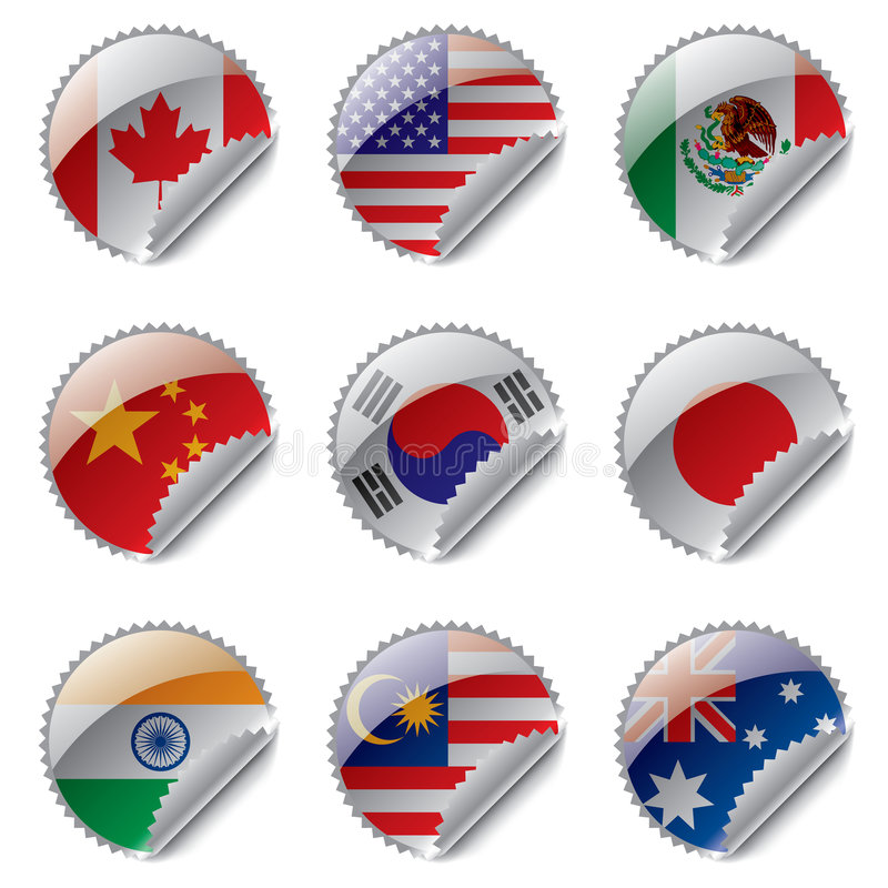 κόσμος ετικετών σημαιών απεικόνιση αποθεμάτων