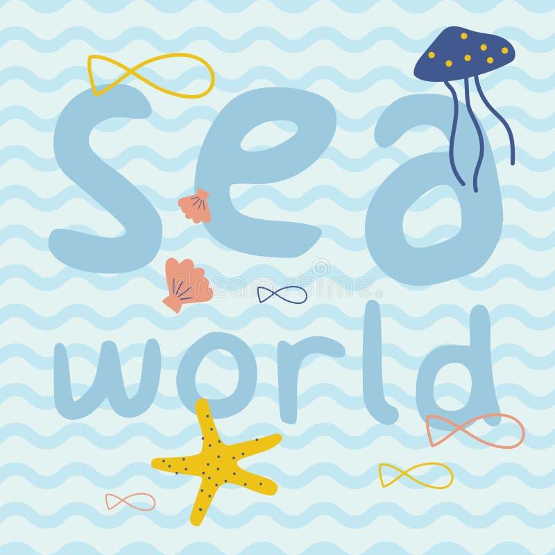 Κόσμος θάλασσας με τα ψάρια, αστερίας, μέδουσα, αφίσα τυπωμένων υλών κοχυλιών στοκ εικόνες