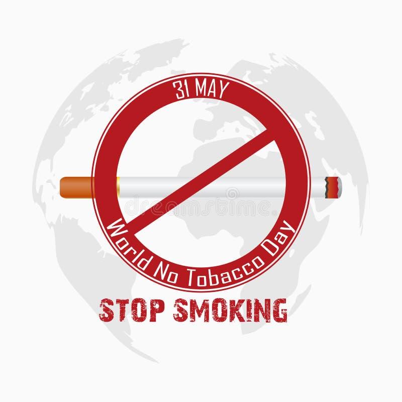 Κόσμος καμία ημέρα καπνών για το κάπνισμα στάσεων διανυσματική απεικόνιση