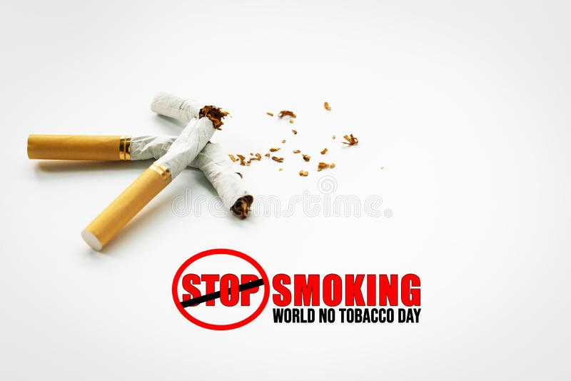 Κόσμος καμία ημέρα καπνών 31 Μαΐου ημέρα απαγόρευσης του καπνίσματος Δηλητήριο του τσιγάρου στοκ εικόνα