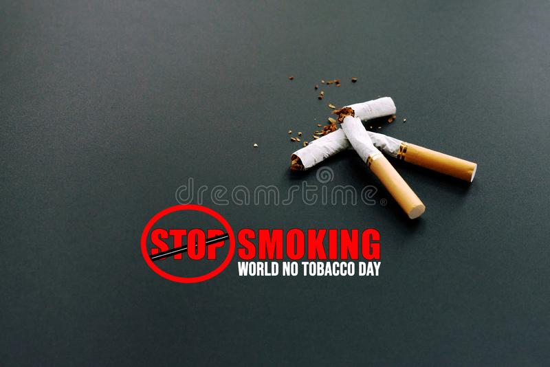 Κόσμος καμία ημέρα καπνών 31 Μαΐου ημέρα απαγόρευσης του καπνίσματος Δηλητήριο του τσιγάρου στοκ εικόνες