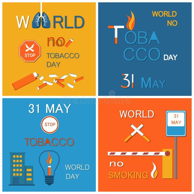 Κόσμος κανένα καπνίζοντας έμβλημα στις 31 Μαΐου στάσεων ημέρας καπνών ελεύθερη απεικόνιση δικαιώματος