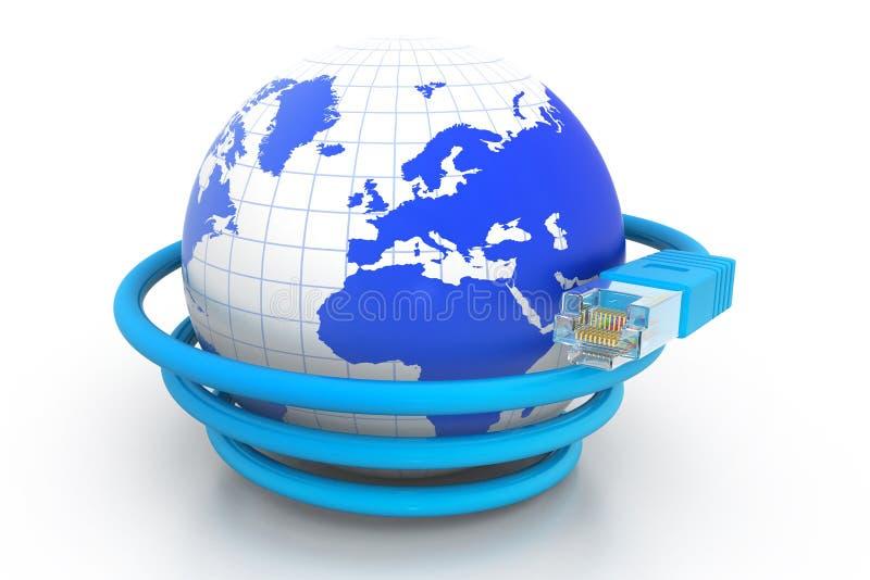 Κόσμος με το καλώδιο δικτύων απεικόνιση αποθεμάτων