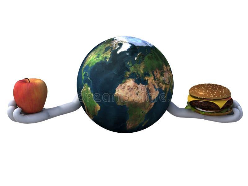 Κόσμος με το χάμπουργκερ και το μήλο απεικόνιση αποθεμάτων