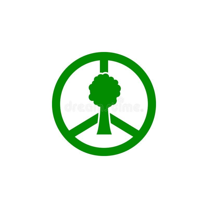 κόσμος σημαδιών και πράσινο εικονίδιο δέντρων Στοιχείο του εικονιδίου προστασίας φύσης για την κινητούς έννοια και τον Ιστό apps  απεικόνιση αποθεμάτων