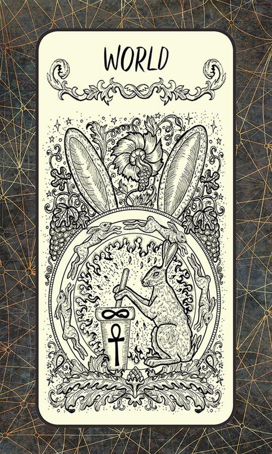 Κόσμος Σημαντική κάρτα Arcana Tarot διανυσματική απεικόνιση