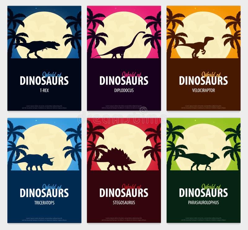 Κόσμος συλλογής αφισών των δεινοσαύρων προϊστορικός κόσμος Jurassic περίοδος ελεύθερη απεικόνιση δικαιώματος