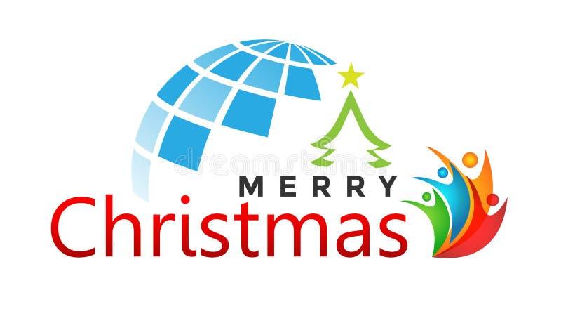 Κόσμος σφαιρών και Χαρούμενα Χριστούγεννας και σχέδιο κειμένων χαιρετισμού με το εικονίδιο ανθρώπων στο αφηρημένο άσπρο υπόβαθρο διανυσματική απεικόνιση
