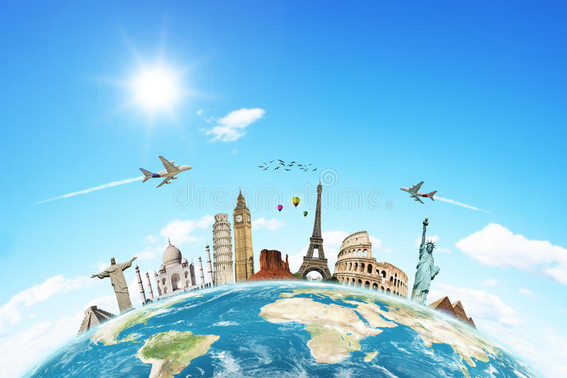κόσμος ταξιδιού έννοιας σύννεφων διανυσματική απεικόνιση