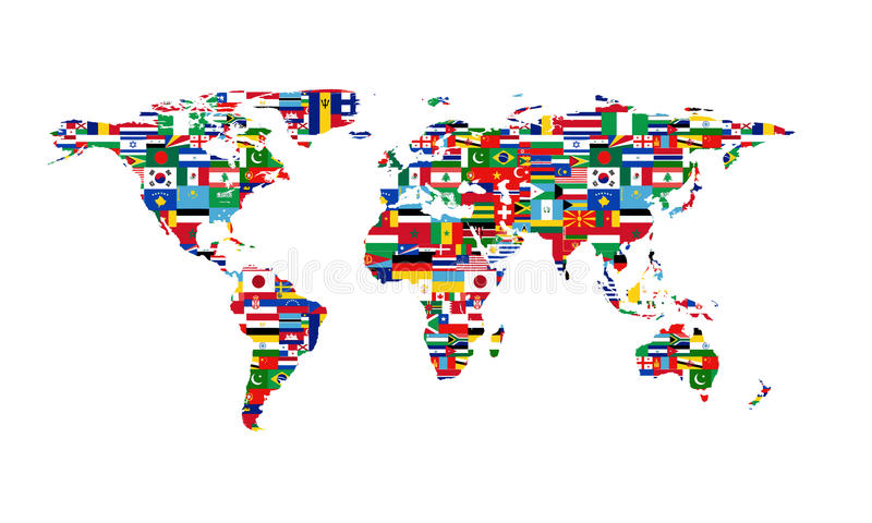 κόσμος χαρτών σημαιών διανυσματική απεικόνιση
