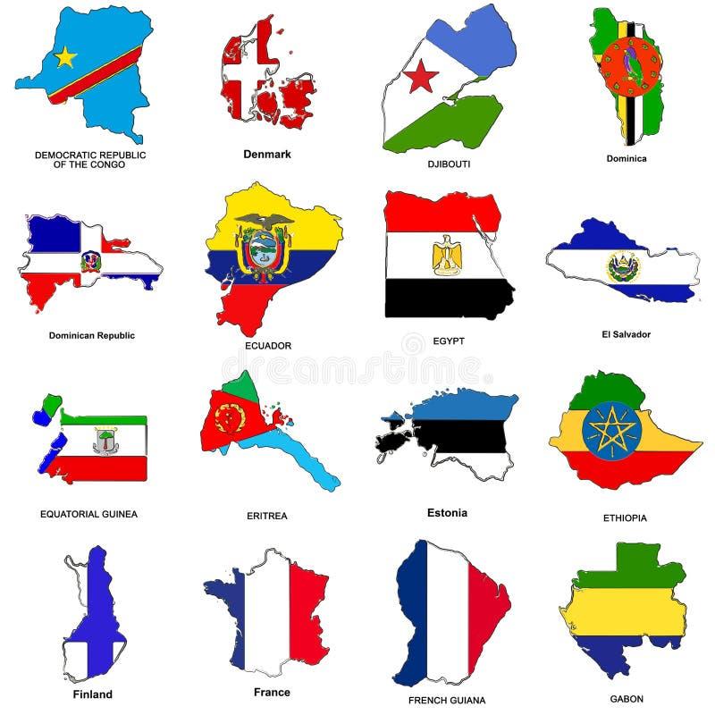 κόσμος 04 συλλογής σημαιών σκίτσων χαρτών ελεύθερη απεικόνιση δικαιώματος