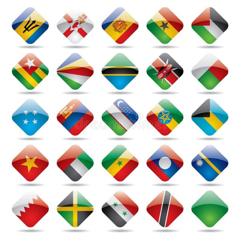 κόσμος 5 εικονιδίων σημαιών διανυσματική απεικόνιση