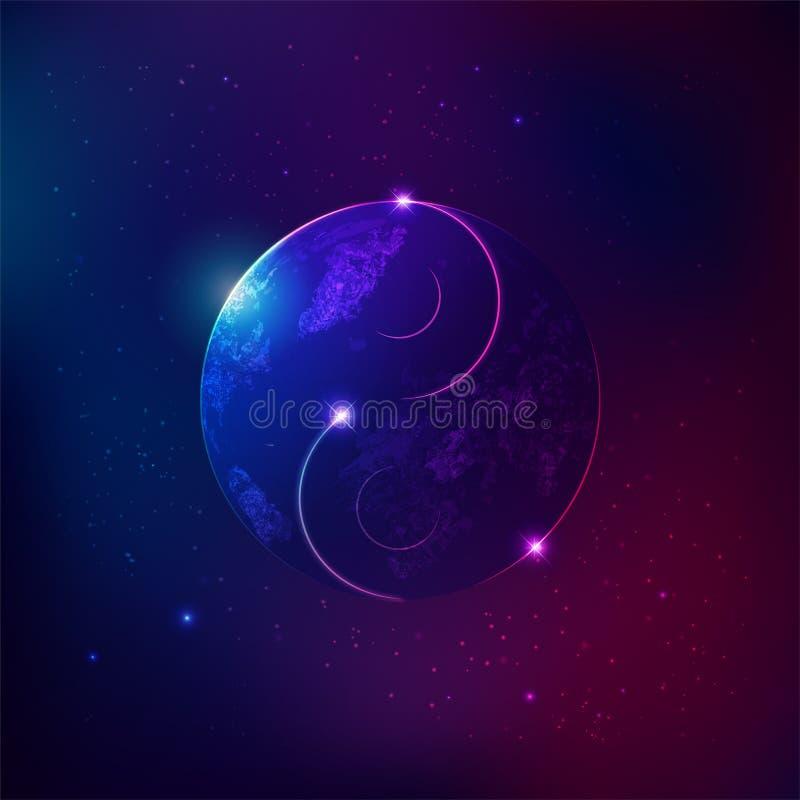 Κόσμος Yang Yin διανυσματική απεικόνιση