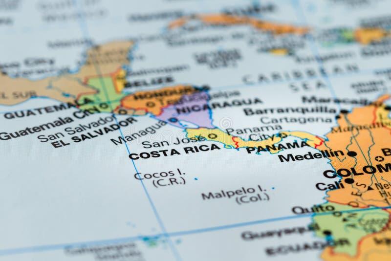 Κόστα Ρίκα σε έναν χάρτη στοκ φωτογραφίες