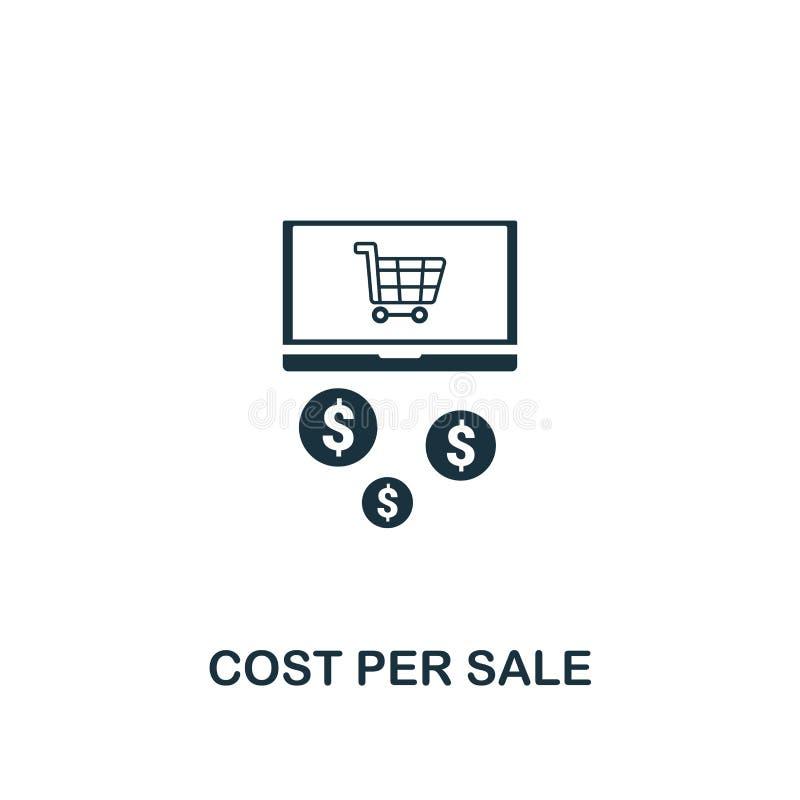 Κόστος ανά εικονίδιο πώλησης Δημιουργικό σχέδιο στοιχείων από την ικανοποιημένη συλλογή εικονιδίων Τέλειο κόστος εικονοκυττάρου α διανυσματική απεικόνιση