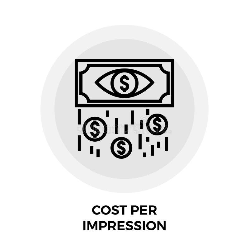Κόστος ανά εικονίδιο γραμμών εντύπωσης ελεύθερη απεικόνιση δικαιώματος